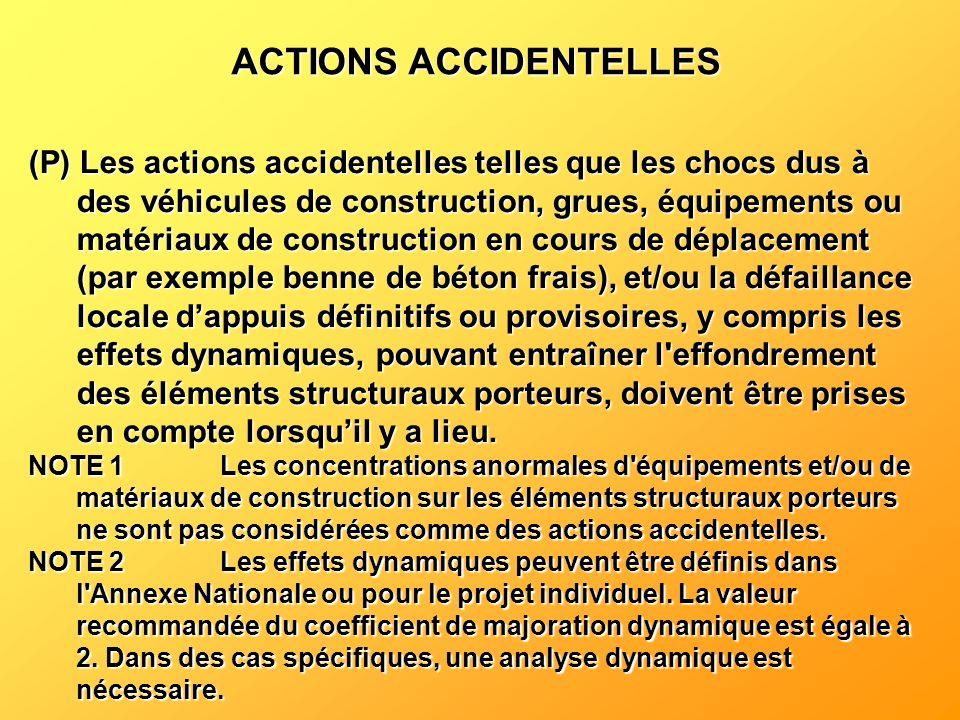 (P) Les actions accidentelles telles que les chocs dus à des véhicules de construction, grues, équipements ou matériaux de construction en cours de dé