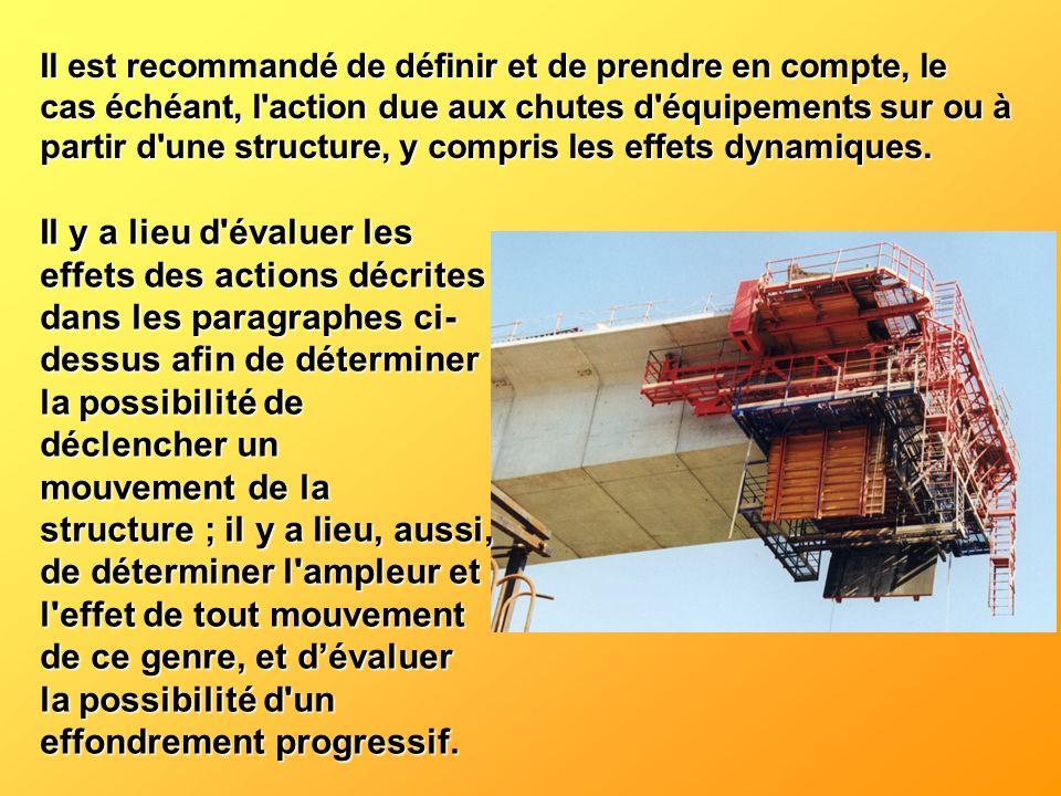 Il est recommandé de définir et de prendre en compte, le cas échéant, l'action due aux chutes d'équipements sur ou à partir d'une structure, y compris
