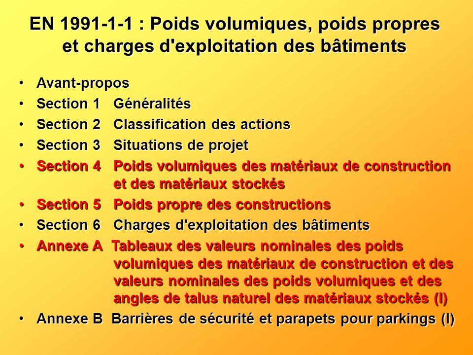 Valeurs caractéristiques du poids propre : Généralités (P) Les valeurs caractéristiques du poids propre, des dimensions et du poids volumique doivent être déterminées conformément à l EN 1990, 4.1.2.
