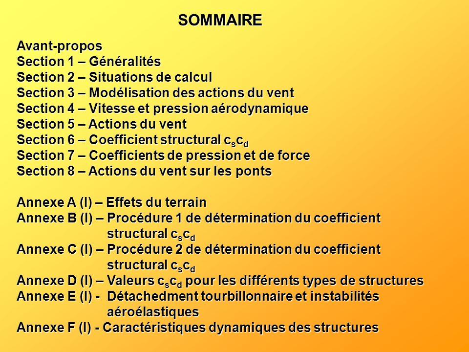 SOMMAIRE Avant-propos Section 1 – Généralités Section 2 – Situations de calcul Section 3 – Modélisation des actions du vent Section 4 – Vitesse et pre