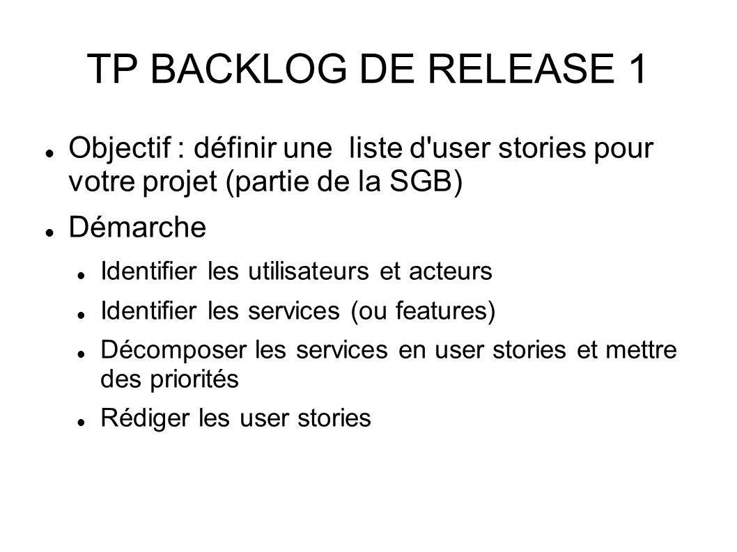 TP BACKLOG DE RELEASE 1 Objectif : définir une liste d user stories pour votre projet (partie de la SGB) Démarche Identifier les utilisateurs et acteurs Identifier les services (ou features) Décomposer les services en user stories et mettre des priorités Rédiger les user stories