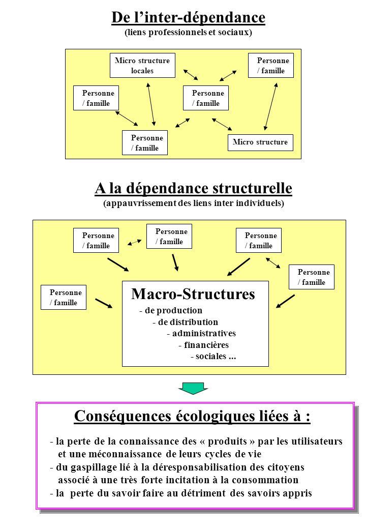 De linter-dépendance (liens professionnels et sociaux) A la dépendance structurelle (appauvrissement des liens inter individuels) Personne / famille M