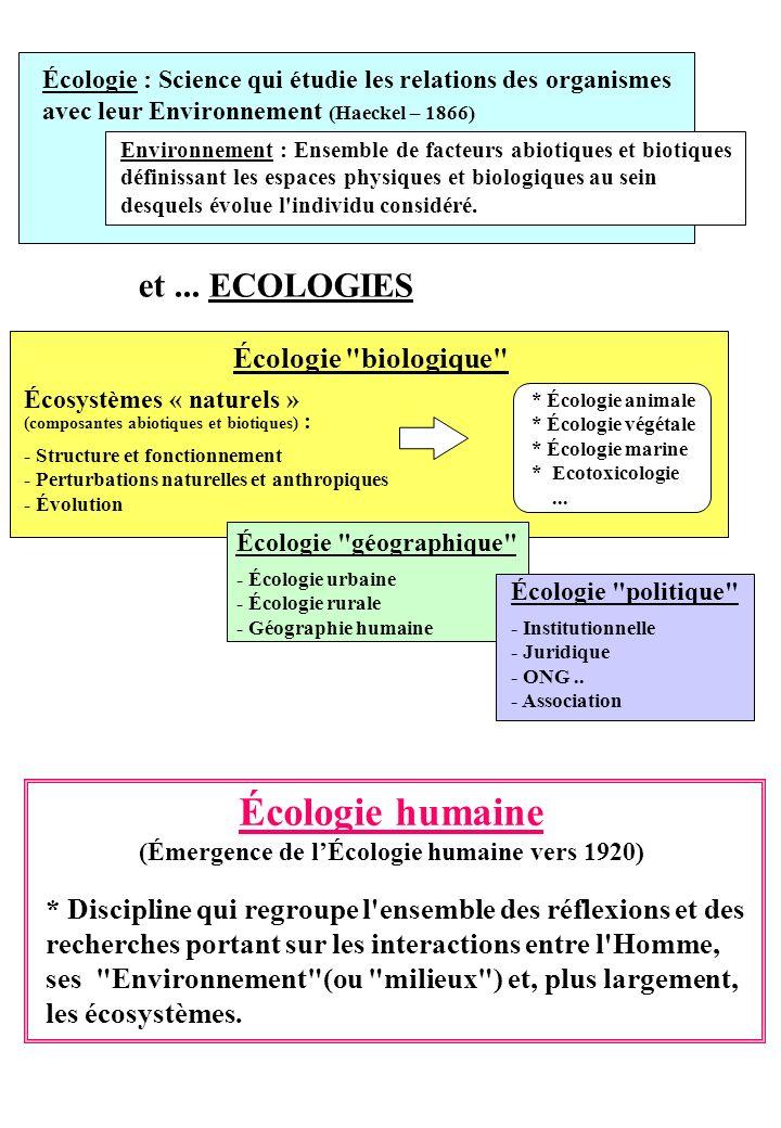 et... ECOLOGIES Écologie : Science qui étudie les relations des organismes avec leur Environnement (Haeckel – 1866) Environnement : Ensemble de facteu