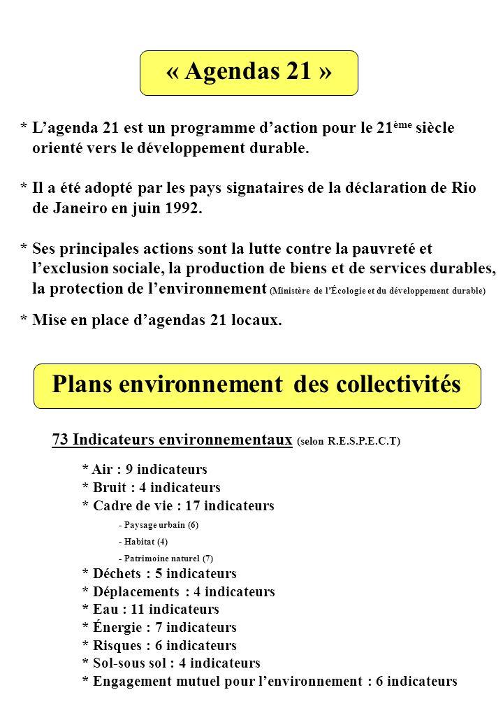 « Agendas 21 » * Lagenda 21 est un programme daction pour le 21 ème siècle orienté vers le développement durable. * Il a été adopté par les pays signa