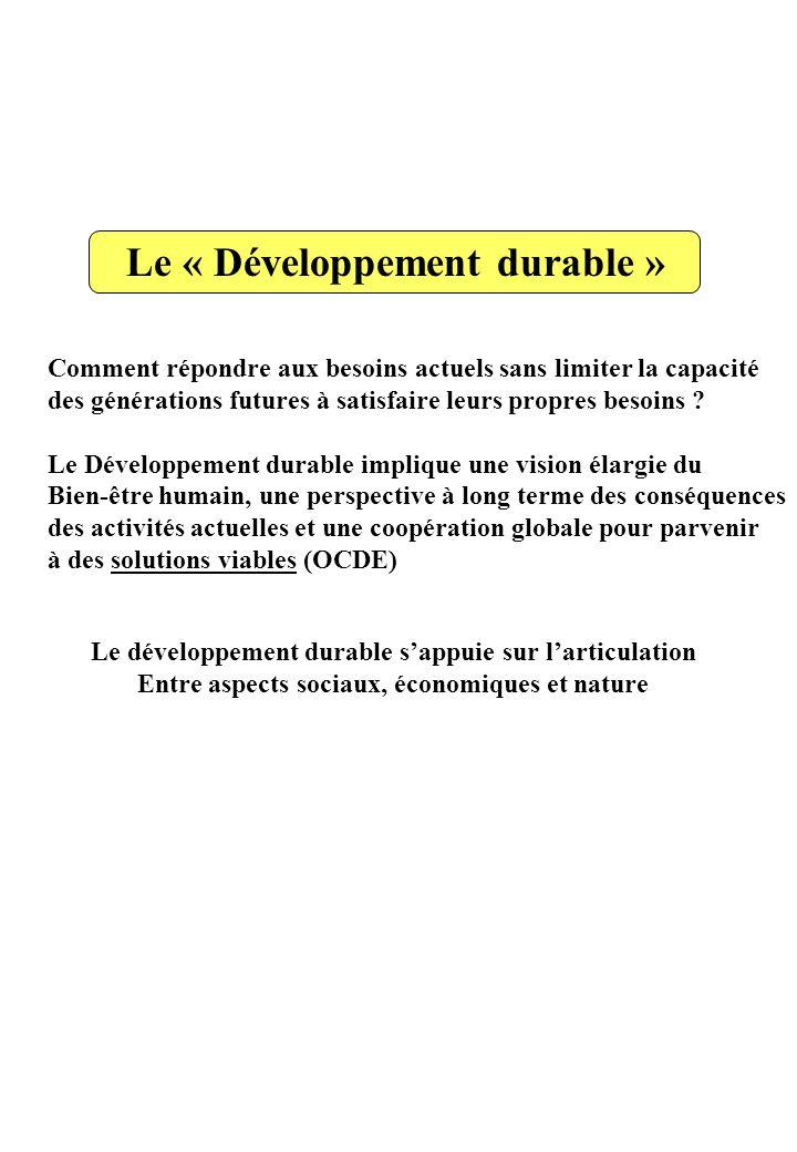 Le « Développement durable » Comment répondre aux besoins actuels sans limiter la capacité des générations futures à satisfaire leurs propres besoins