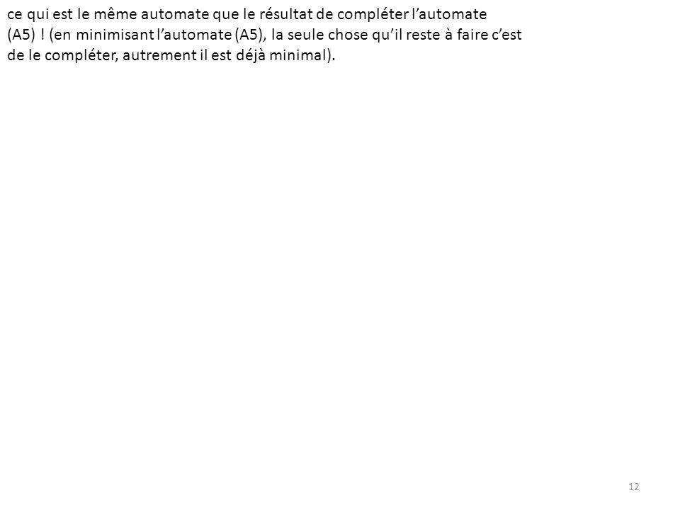 12 ce qui est le même automate que le résultat de compléter lautomate (A5) .