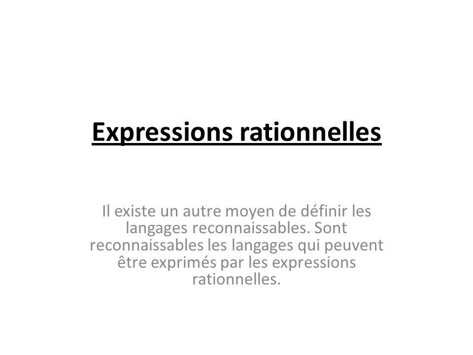 Expressions rationnelles Il existe un autre moyen de définir les langages reconnaissables. Sont reconnaissables les langages qui peuvent être exprimés
