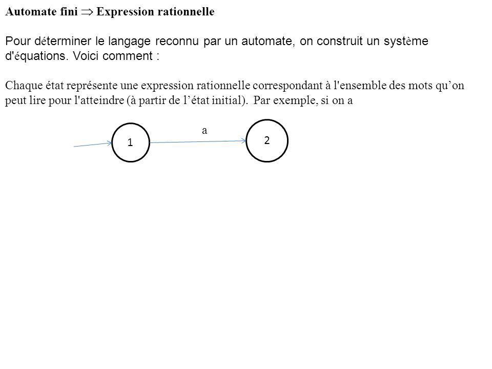 Automate fini Expression rationnelle Pour d é terminer le langage reconnu par un automate, on construit un syst è me d' é quations. Voici comment : Ch