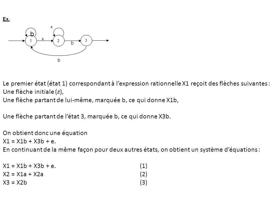 123 a a Ex. b Le premier état (état 1) correspondant à lexpression rationnelle X1 reçoit des flèches suivantes : Une flèche initiale ( ), Une flèche p