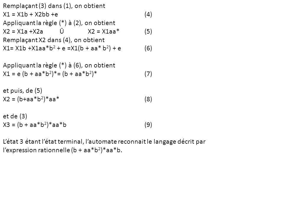 Remplaçant (3) dans (1), on obtient X1 = X1b + X2bb +e(4) Appliquant la règle (*) à (2), on obtient X2 = X1a +X2a Û X2 = X1aa*(5) Remplaçant X2 dans (