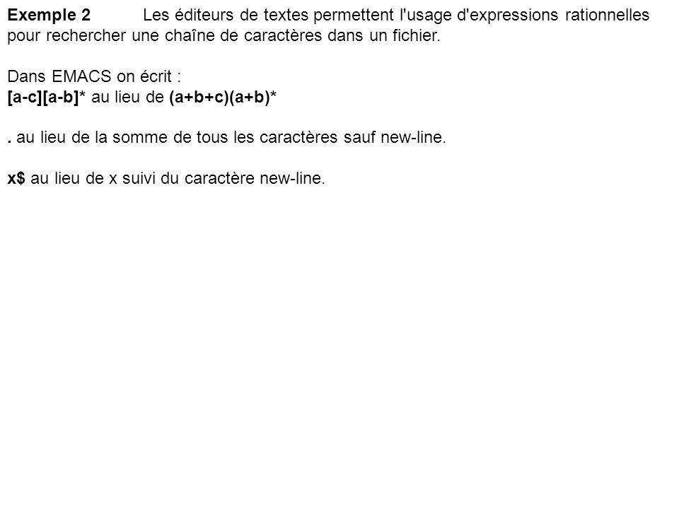 Exemple 2Les éditeurs de textes permettent l'usage d'expressions rationnelles pour rechercher une chaîne de caractères dans un fichier. Dans EMACS on