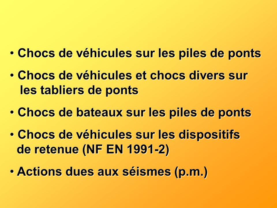 Chocs de véhicules sur les piles de ponts Chocs de véhicules sur les piles de ponts Chocs de véhicules et chocs divers sur les tabliers de ponts Chocs
