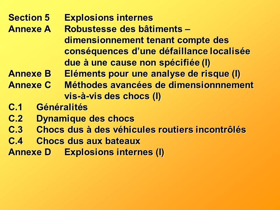 Section 5Explosions internes Annexe ARobustesse des bâtiments – dimensionnement tenant compte des conséquences dune défaillance localisée due à une ca