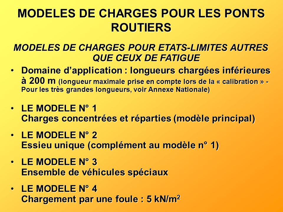 MODELES DE CHARGES POUR LES PONTS ROUTIERS MODELES DE CHARGES POUR ETATS-LIMITES AUTRES QUE CEUX DE FATIGUE Domaine dapplication : longueurs chargées