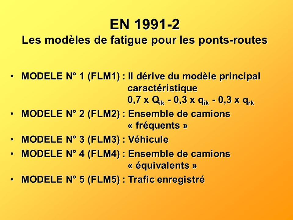 EN 1991-2 Les modèles de fatigue pour les ponts-routes MODELE N° 1 (FLM1) : Il dérive du modèle principal caractéristique 0,7 x Q ik - 0,3 x q ik - 0,