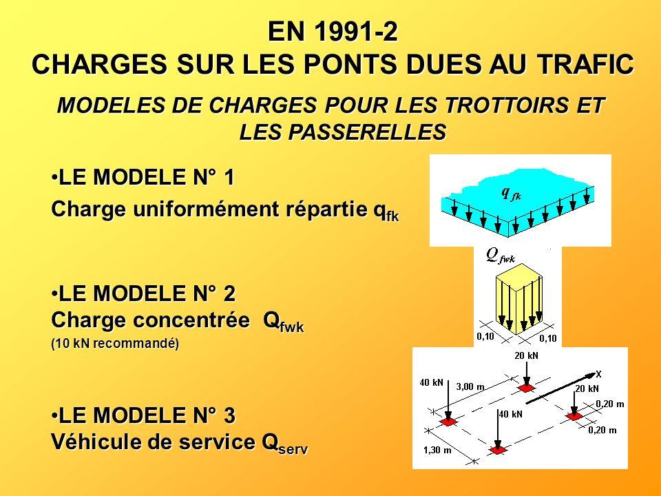 EN 1991-2 CHARGES SUR LES PONTS DUES AU TRAFIC MODELES DE CHARGES POUR LES TROTTOIRS ET LES PASSERELLES LE MODELE N° 1LE MODELE N° 1 Charge uniforméme