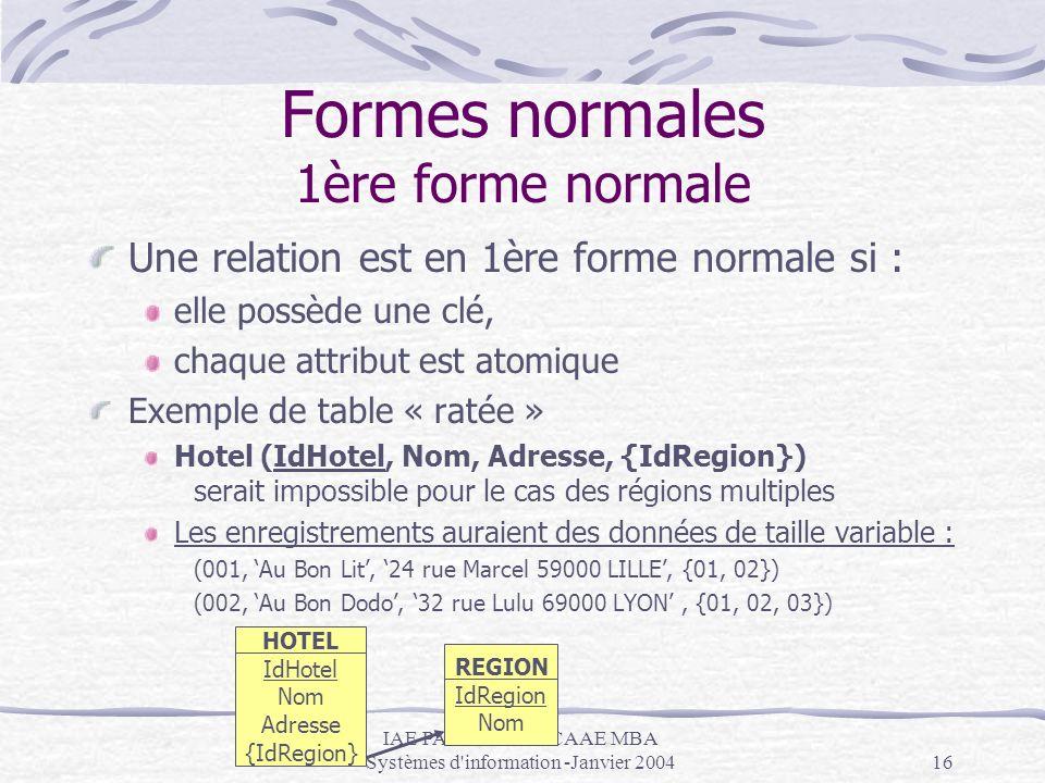 IAE PARIS - DESS CAAE MBA Systèmes d'information -Janvier 200416 Formes normales 1ère forme normale Une relation est en 1ère forme normale si : elle p