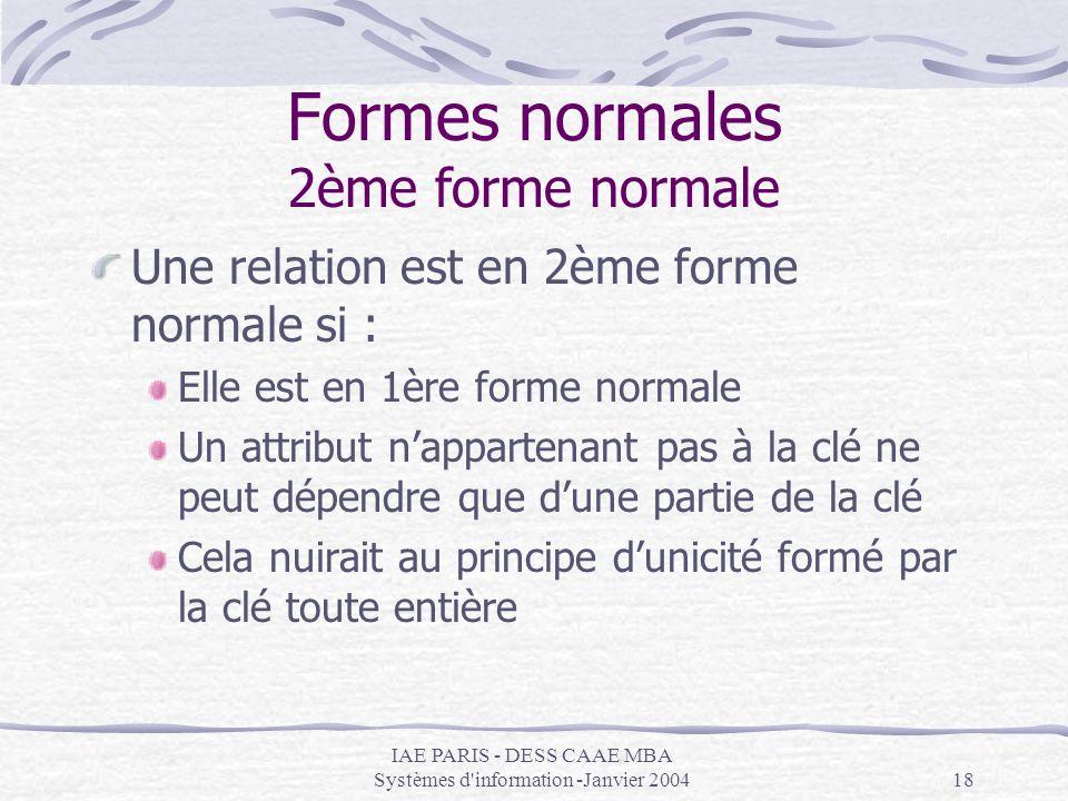 IAE PARIS - DESS CAAE MBA Systèmes d'information -Janvier 200418 Formes normales 2ème forme normale Une relation est en 2ème forme normale si : Elle e