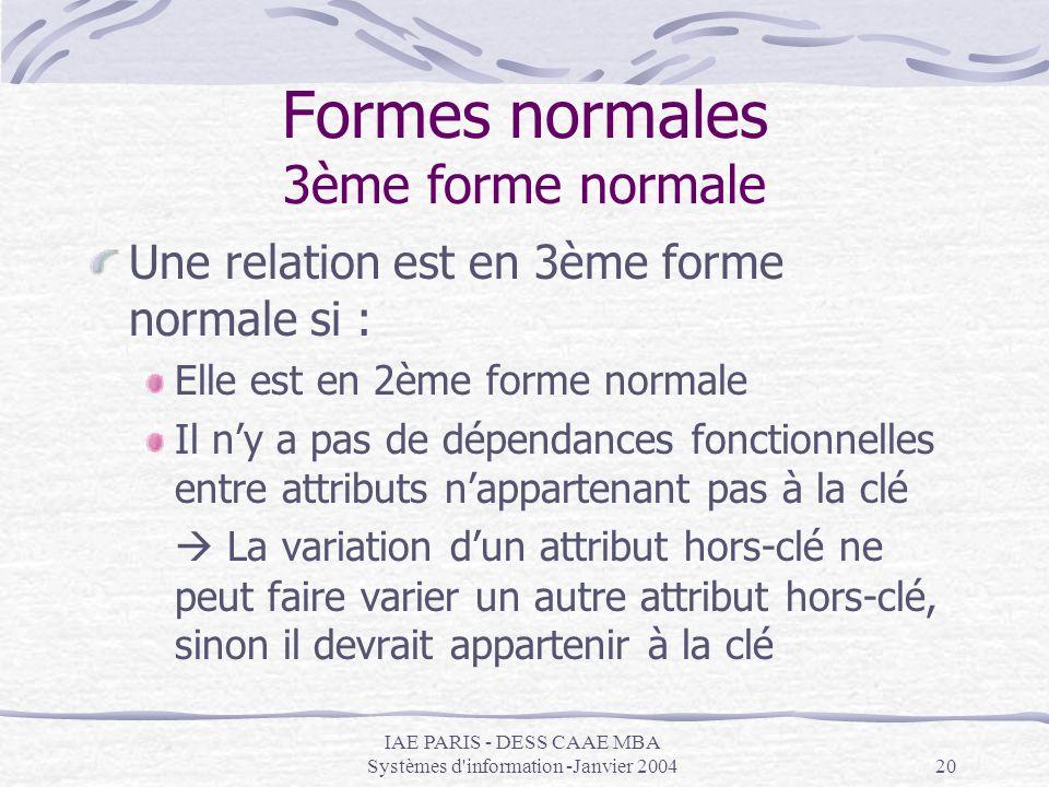 IAE PARIS - DESS CAAE MBA Systèmes d'information -Janvier 200420 Formes normales 3ème forme normale Une relation est en 3ème forme normale si : Elle e
