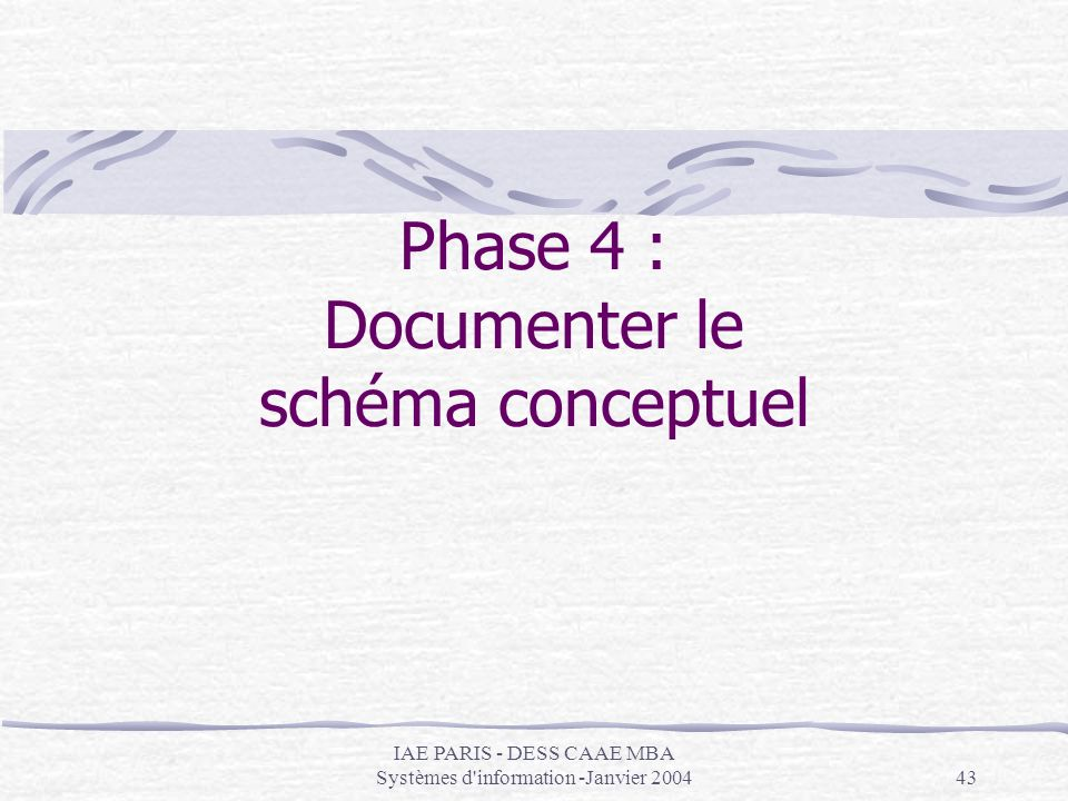 IAE PARIS - DESS CAAE MBA Systèmes d'information -Janvier 200443 Phase 4 : Documenter le schéma conceptuel