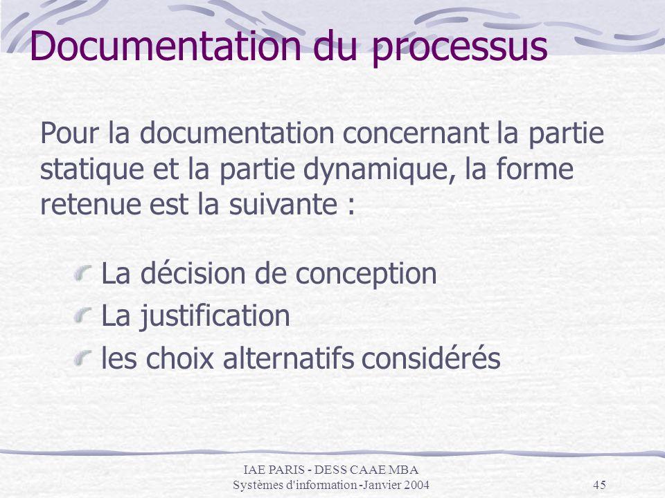 IAE PARIS - DESS CAAE MBA Systèmes d'information -Janvier 200445 Documentation du processus Pour la documentation concernant la partie statique et la