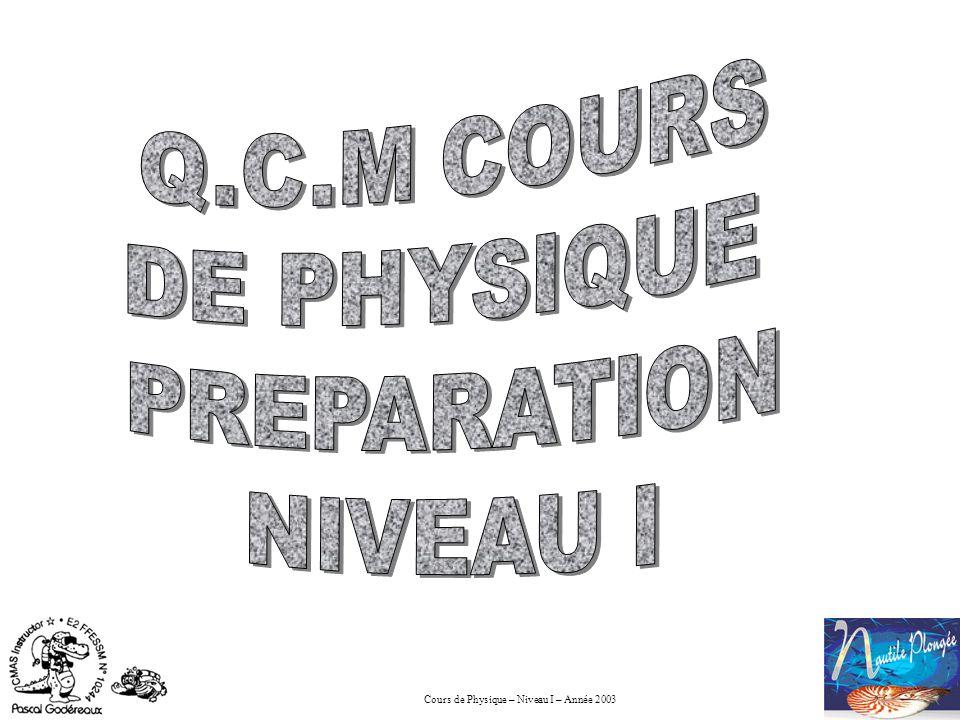 Cours de Physique – Niveau I – Année 2003