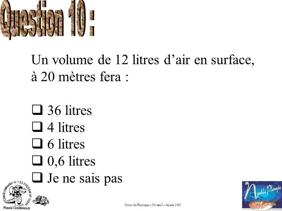 Cours de Physique – Niveau I – Année 2003 Un volume de 12 litres dair en surface, à 20 mètres fera : 36 litres 4 litres 6 litres 0,6 litres Je ne sais