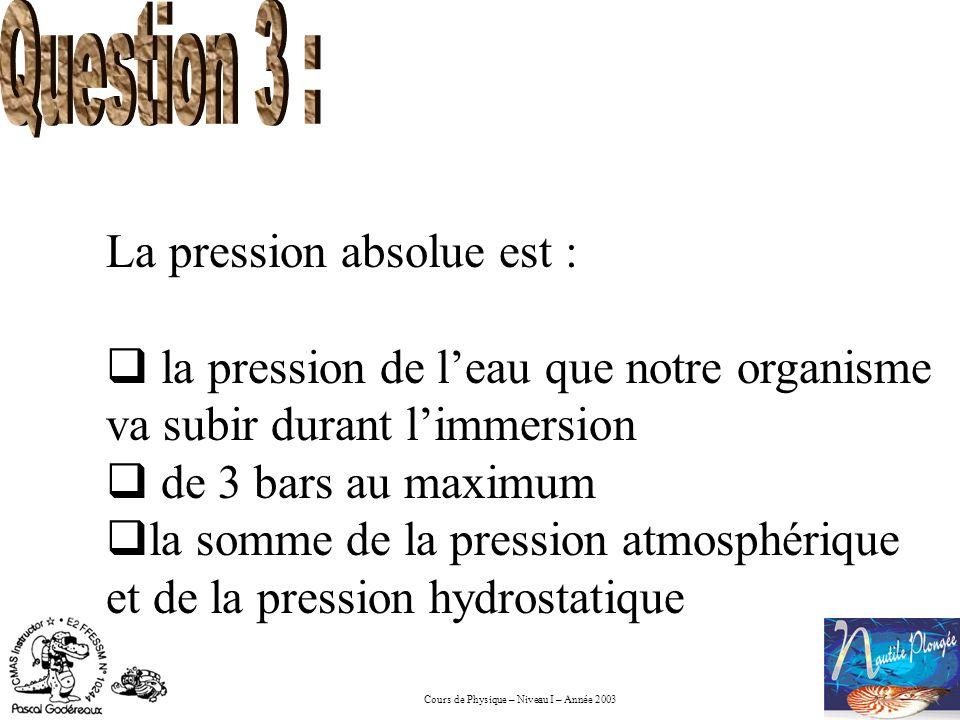 Cours de Physique – Niveau I – Année 2003 La pression absolue est : la pression de leau que notre organisme va subir durant limmersion de 3 bars au ma
