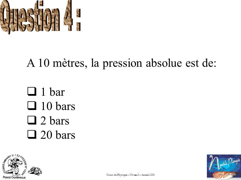 Cours de Physique – Niveau I – Année 2003 A 10 mètres, la pression absolue est de: 1 bar 10 bars 2 bars 20 bars