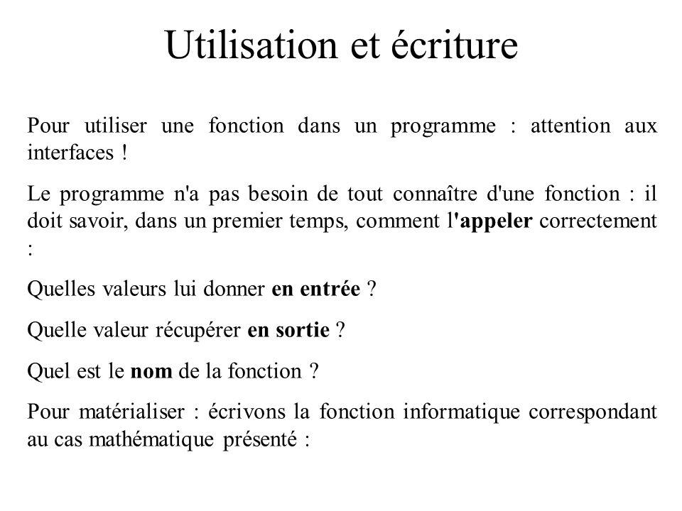 Utilisation et écriture Pour utiliser une fonction dans un programme : attention aux interfaces ! Le programme n'a pas besoin de tout connaître d'une
