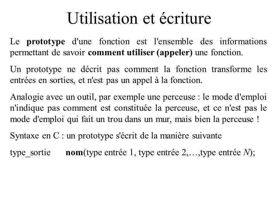Utilisation et écriture Le prototype d'une fonction est l'ensemble des informations permettant de savoir comment utiliser (appeler) une fonction. Un p
