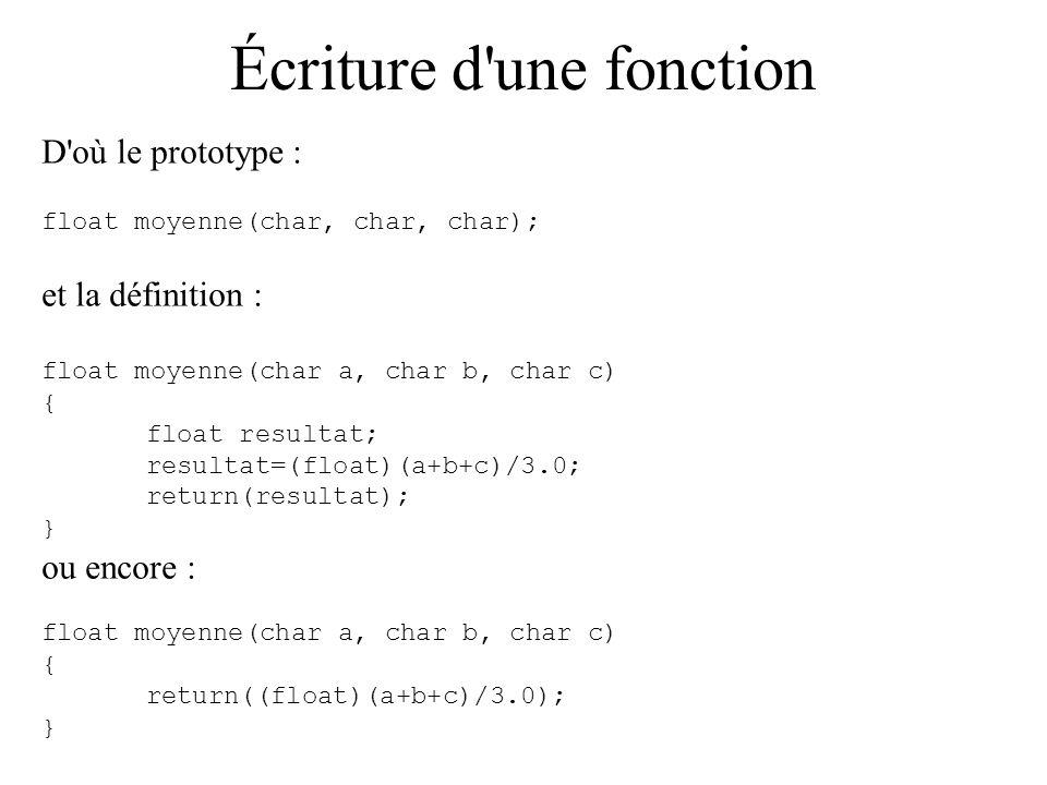 Écriture d'une fonction D'où le prototype : float moyenne(char, char, char); et la définition : float moyenne(char a, char b, char c) { float resultat