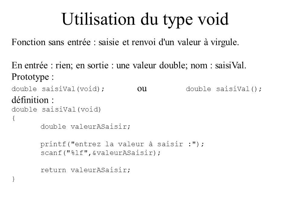 Utilisation du type void Fonction sans entrée : saisie et renvoi d'un valeur à virgule. En entrée : rien; en sortie : une valeur double; nom : saisiVa