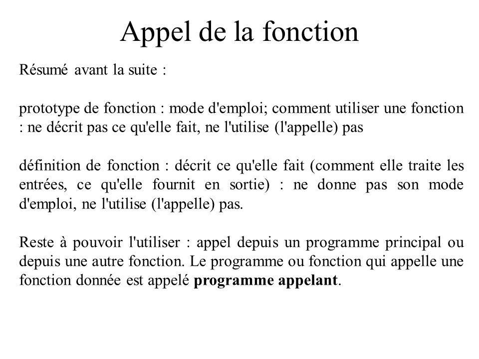 Appel de la fonction Résumé avant la suite : prototype de fonction : mode d'emploi; comment utiliser une fonction : ne décrit pas ce qu'elle fait, ne
