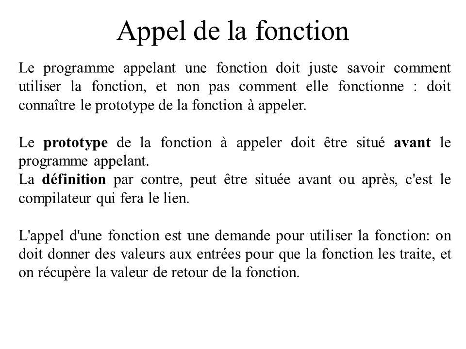 Appel de la fonction Le programme appelant une fonction doit juste savoir comment utiliser la fonction, et non pas comment elle fonctionne : doit conn