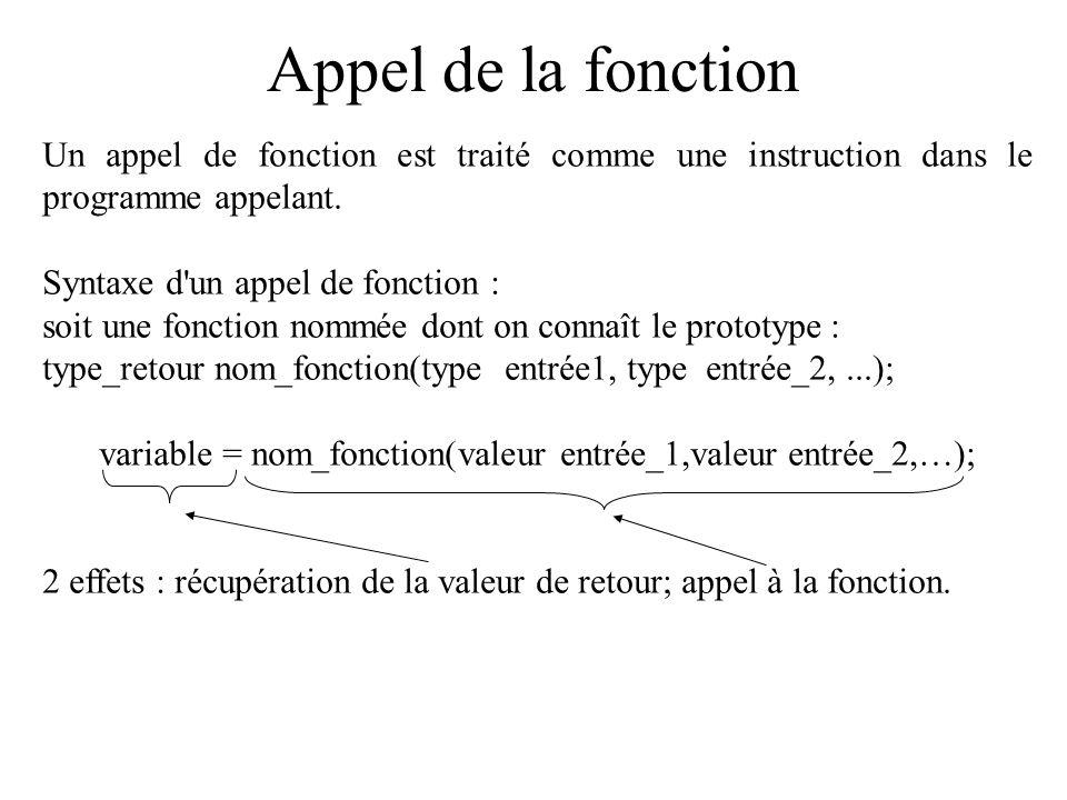 Appel de la fonction Un appel de fonction est traité comme une instruction dans le programme appelant. Syntaxe d'un appel de fonction : soit une fonct