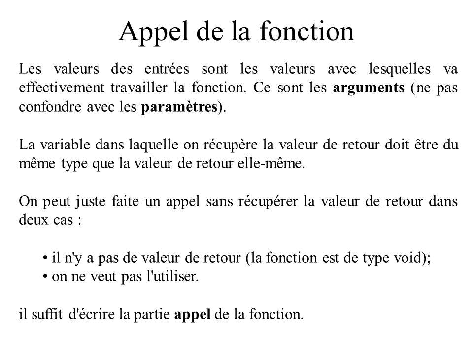 Appel de la fonction Les valeurs des entrées sont les valeurs avec lesquelles va effectivement travailler la fonction. Ce sont les arguments (ne pas c