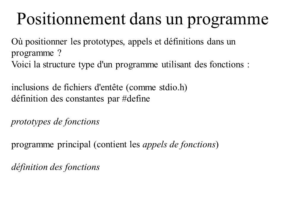 Positionnement dans un programme Où positionner les prototypes, appels et définitions dans un programme ? Voici la structure type d'un programme utili