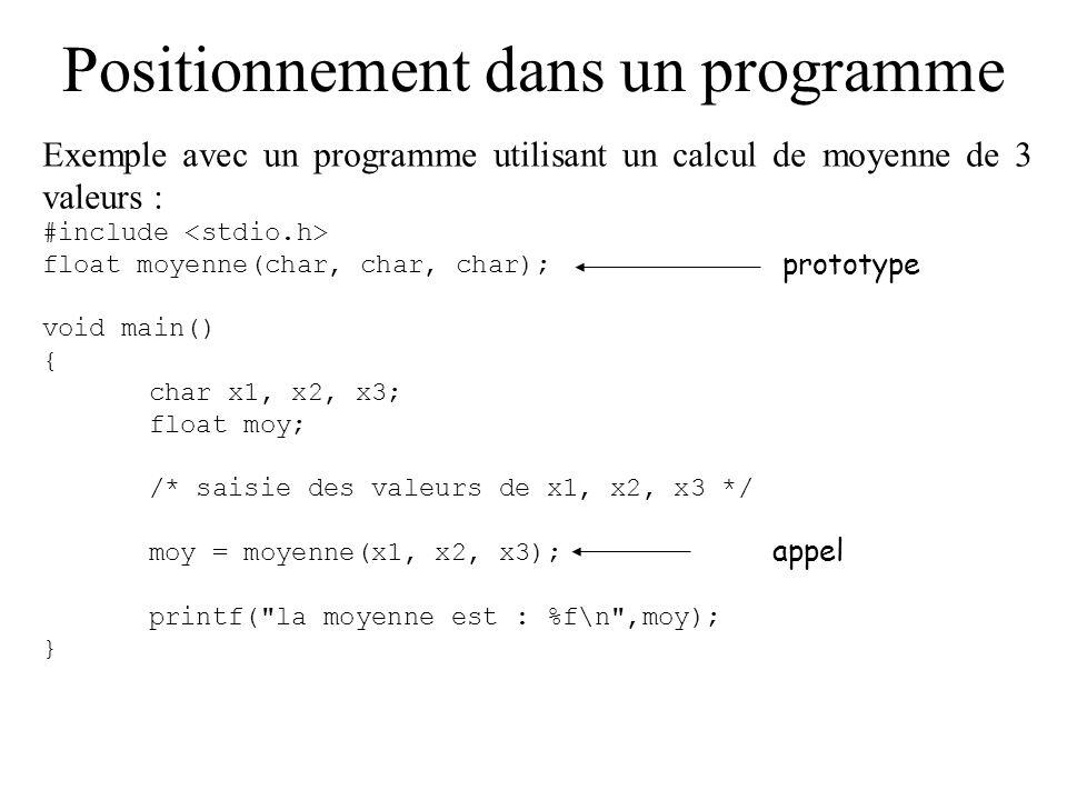 Positionnement dans un programme Exemple avec un programme utilisant un calcul de moyenne de 3 valeurs : #include float moyenne(char, char, char); voi