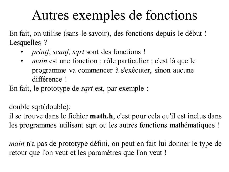 Autres exemples de fonctions En fait, on utilise (sans le savoir), des fonctions depuis le début ! Lesquelles ? printf, scanf, sqrt sont des fonctions