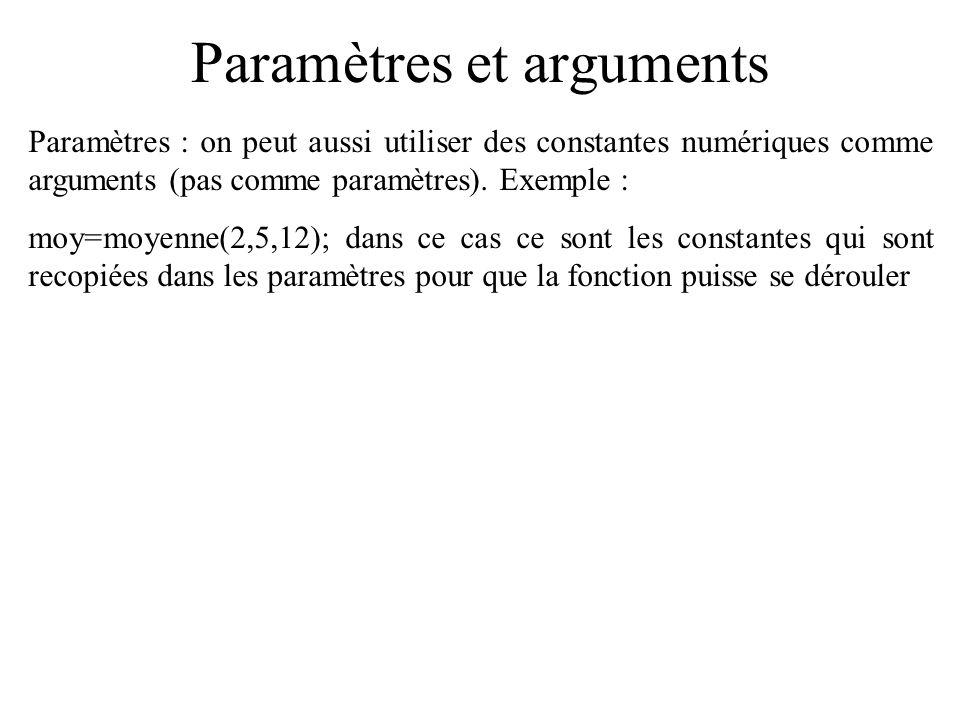 Paramètres et arguments Paramètres : on peut aussi utiliser des constantes numériques comme arguments (pas comme paramètres). Exemple : moy=moyenne(2,