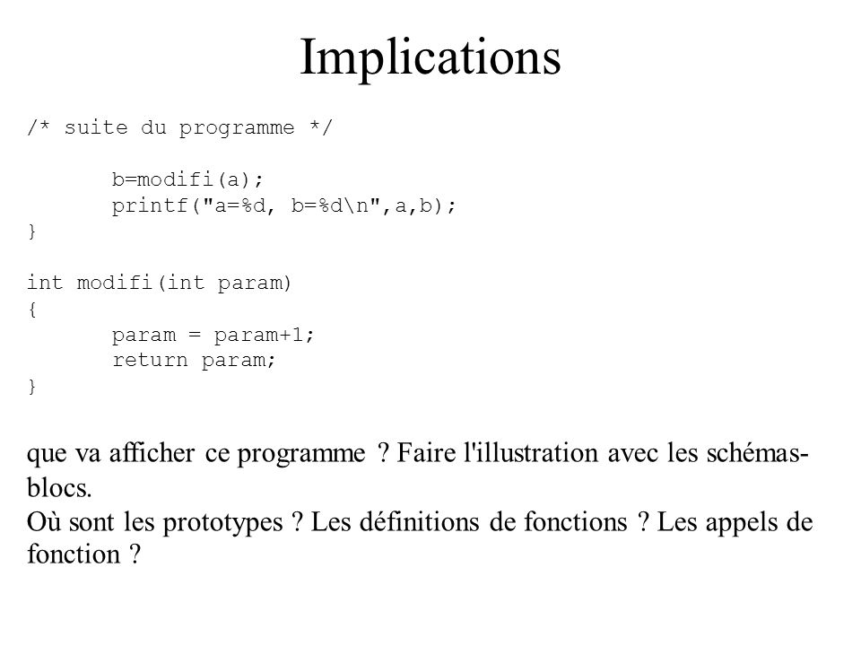 Implications /* suite du programme */ b=modifi(a); printf(