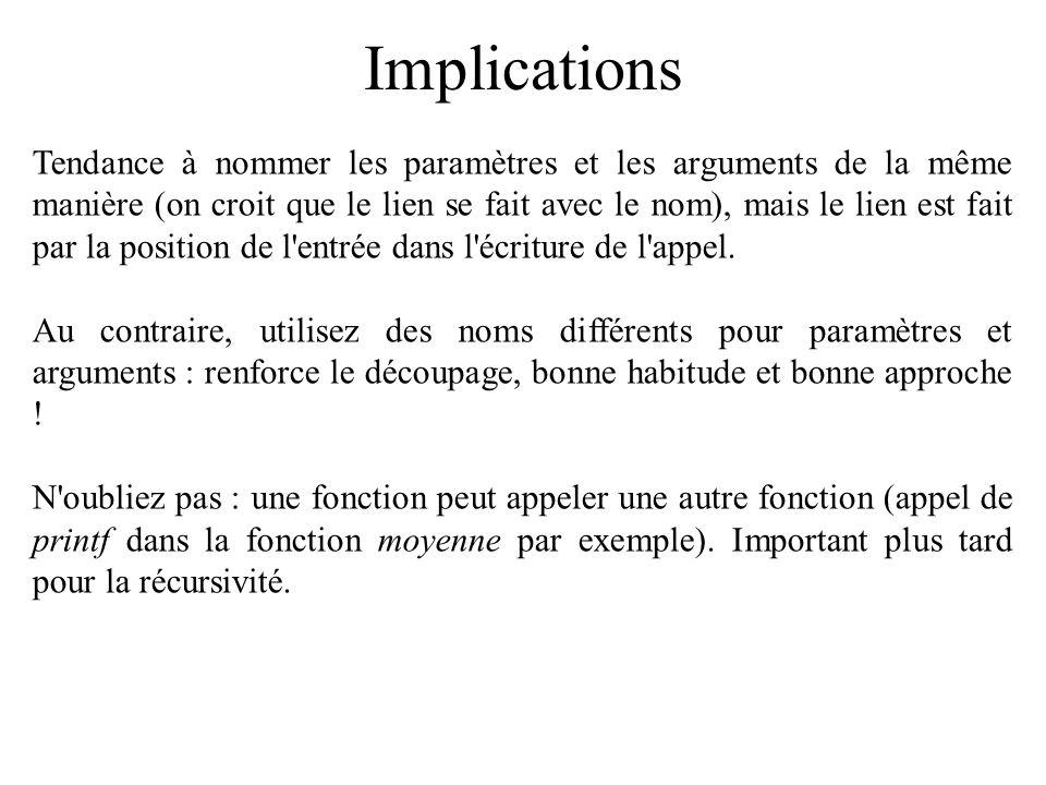 Implications Tendance à nommer les paramètres et les arguments de la même manière (on croit que le lien se fait avec le nom), mais le lien est fait pa
