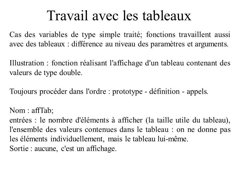 Travail avec les tableaux Cas des variables de type simple traité; fonctions travaillent aussi avec des tableaux : différence au niveau des paramètres
