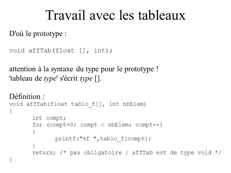 Travail avec les tableaux D'où le prototype : void affTab(float [], int); attention à la syntaxe du type pour le prototype ! 'tableau de type' s'écrit