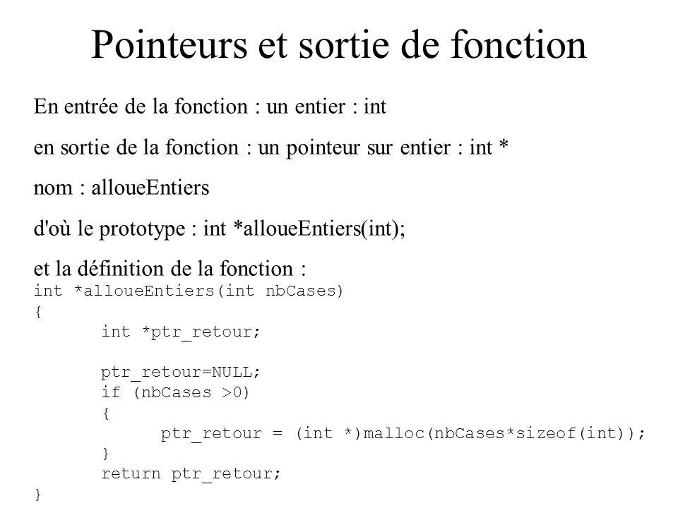 Pointeurs et sortie de fonction En entrée de la fonction : un entier : int en sortie de la fonction : un pointeur sur entier : int * nom : alloueEntie