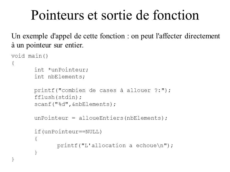 Pointeurs et sortie de fonction Un exemple d'appel de cette fonction : on peut l'affecter directement à un pointeur sur entier. void main() { int *unP