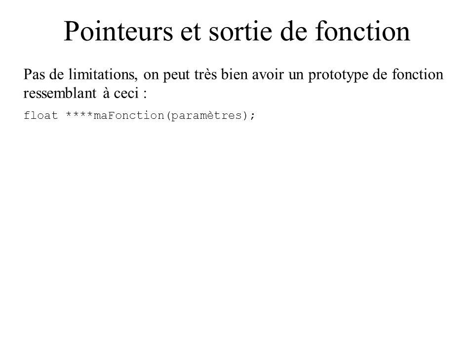 Pointeurs et sortie de fonction Pas de limitations, on peut très bien avoir un prototype de fonction ressemblant à ceci : float ****maFonction(paramèt