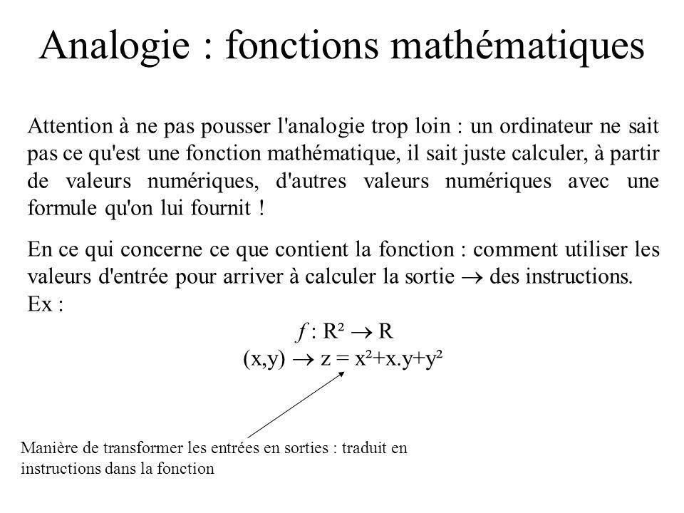 Analogie : fonctions mathématiques Attention à ne pas pousser l'analogie trop loin : un ordinateur ne sait pas ce qu'est une fonction mathématique, il