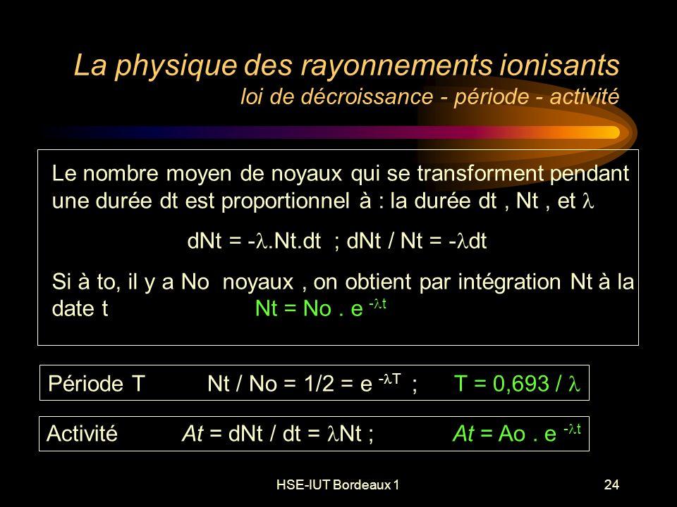 HSE-IUT Bordeaux 124 La physique des rayonnements ionisants loi de décroissance - période - activité Le nombre moyen de noyaux qui se transforment pendant une durée dt est proportionnel à : la durée dt, Nt, et dNt = -.Nt.dt ; dNt / Nt = - dt Si à to, il y a No noyaux, on obtient par intégration Nt à la date tNt = No.